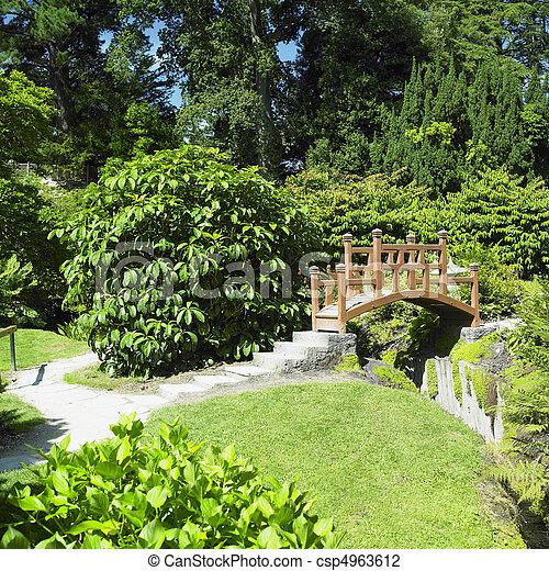 Japanese garden, powerscourt gardens, county wicklow,... stock photo ...