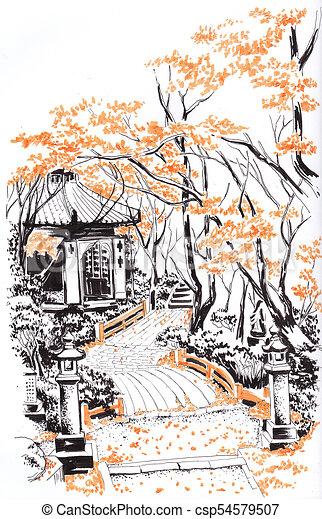Autumn Alleys Of The Japanese Garden Sketch