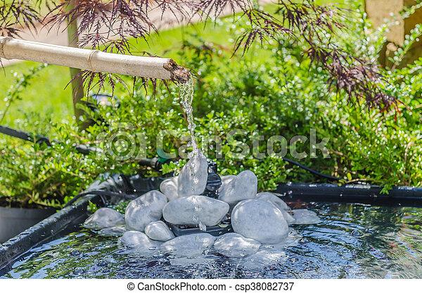Japanese Garden With Bamboo Fountain Csp38082737