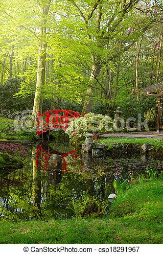 Japanese garden with bridge - csp18291967