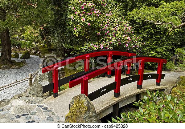 Japanese Garden with Red Bridge - csp9425328