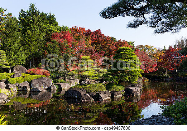 Japanese garden with red maple foliage - csp49437806