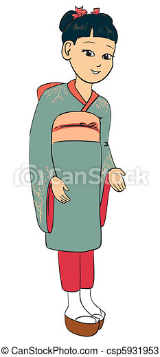 Japanese girl dressed traditional s - csp5931953