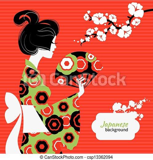 Japanese girl silhouette - csp13362094