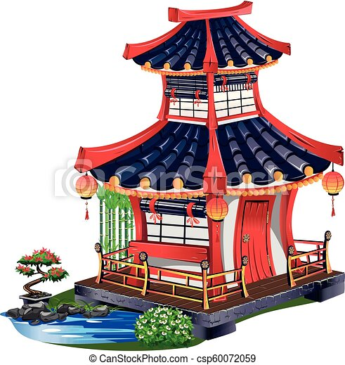 Japanese house with roof tiles - csp60072059