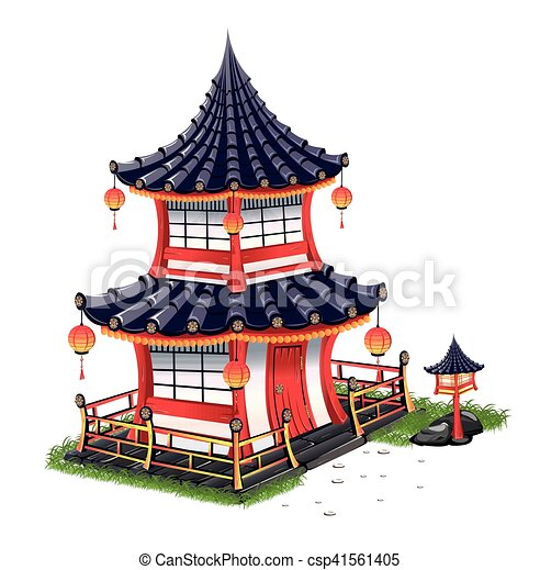Japanese House With Roof Tiles Vector