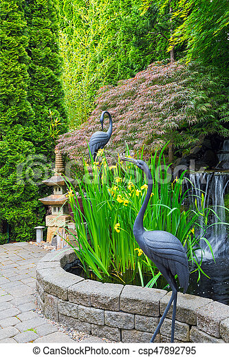 Japanese Inspired Garden With Pond   Csp47892795