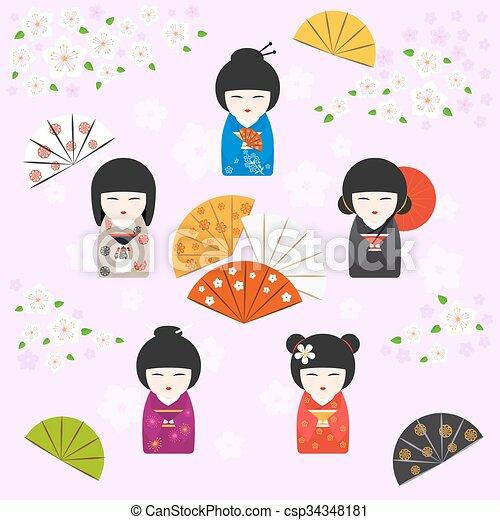 Japanese kokeshi dolls background  - csp34348181