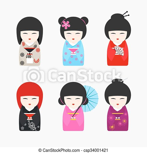 Japanese Kokeshi Dolls icons - csp34001421