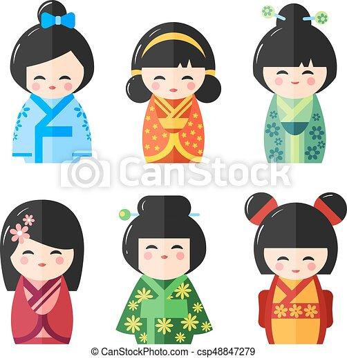 Japanese Kokeshi Dolls, vector icons - csp48847279