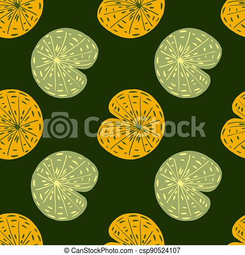 Japanese lake foliage seamless pattern with orange and pastel tones lily water ornament. Green dark background. - csp90524107