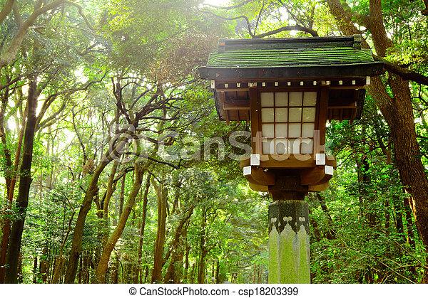 Japanese lantern in park - csp18203399