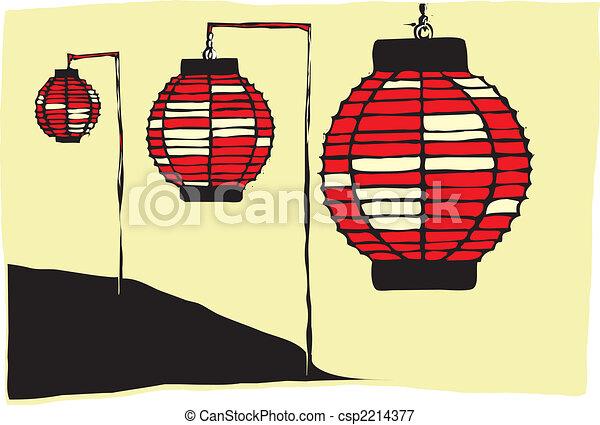Japanese Lanterns Three Paper On A Vectors