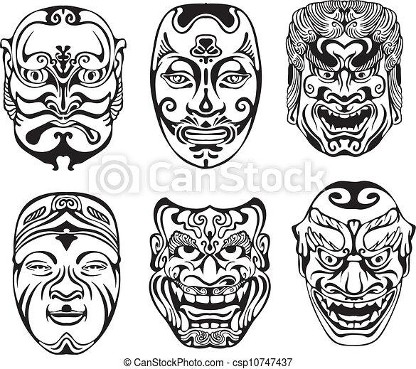 Japanese Nogaku Theatrical Masks - csp10747437
