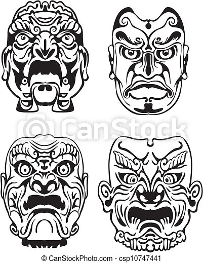 Japanese Noh Theatrical Masks - csp10747441