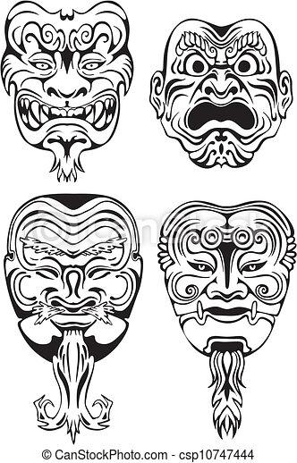 Japanese Noh Theatrical Masks - csp10747444