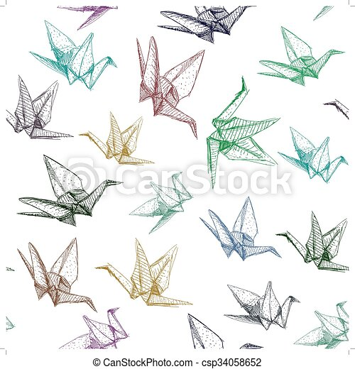 Japanese Origami paper cranes symbol of happiness, luck and longevity, sketch seamless pattern. purple blue brown green line on white background. Vector - csp34058652