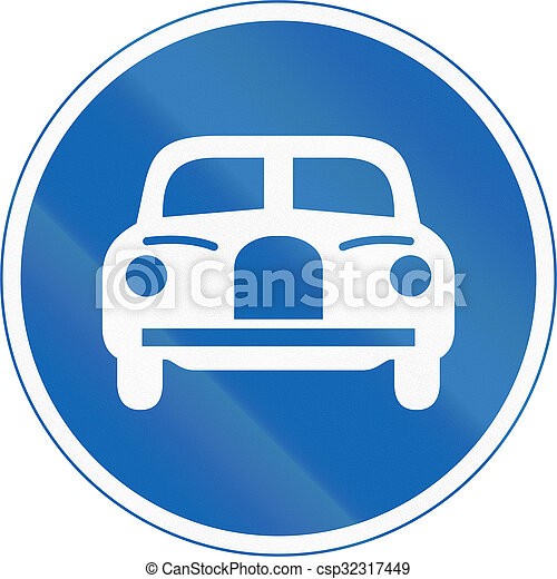 Japanese regulatory road sign - Vehicles Only - csp32317449