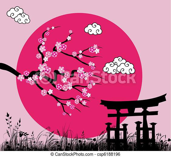 Japanese sakura blossom and tori gate -vector illustration - csp6188196