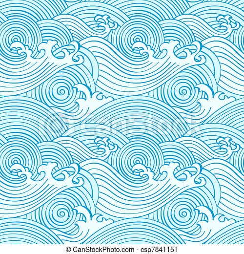Japanese seamless waves - csp7841151