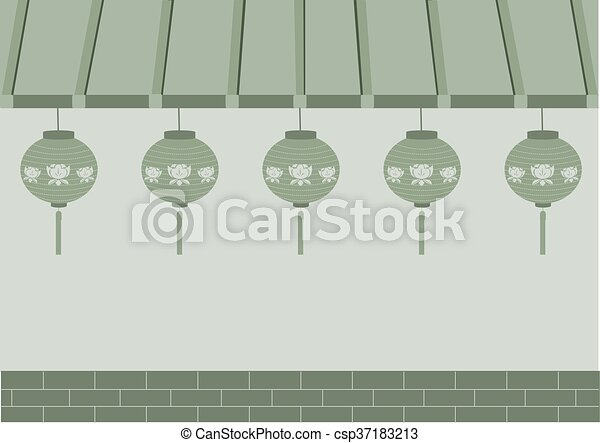 Japanese Shop And Lamp Vector