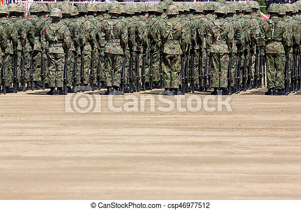 Japanese soldier at the military base - csp46977512
