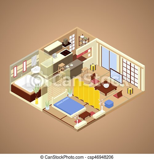 Japanese Style Apartment Interior Design With Kitchen Bedroom And Bathroom Isometric Vector Flat 3d Illustration