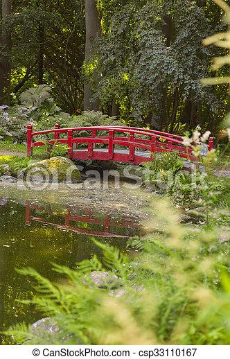 Japanese style bridge in garden - csp33110167