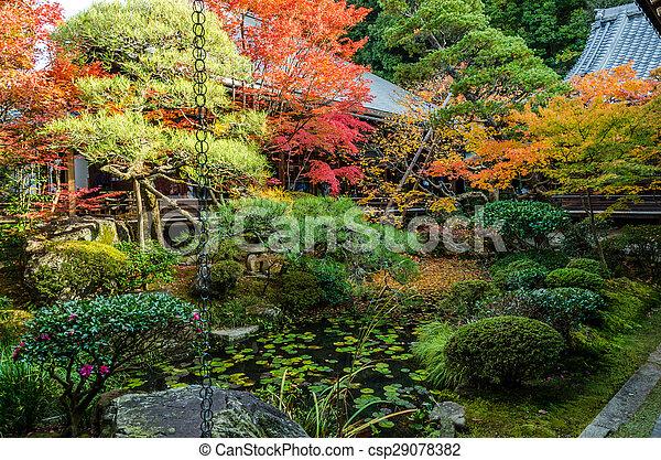 Japanese Style Garden In Autumn (Koyo) Stock Photo