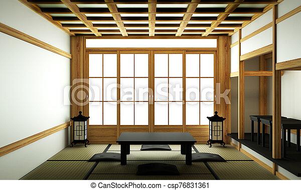 Japanese style room interior design. 3D rendering - csp76831361