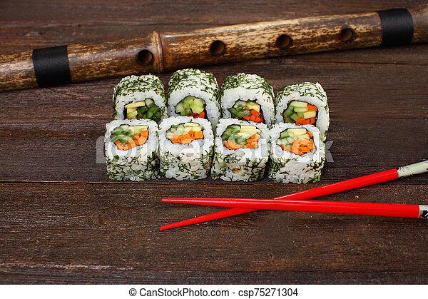 Japanese sushi roles - csp75271304