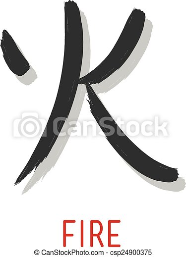 Japanese Symbol For Fire Hand Drawn Vector Illustration Or Drawing