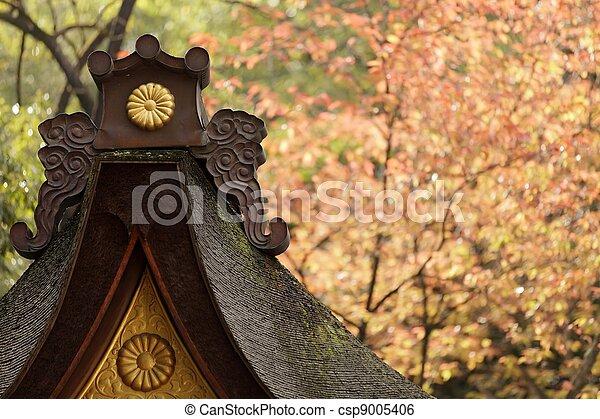 japanese temple at fall - csp9005406
