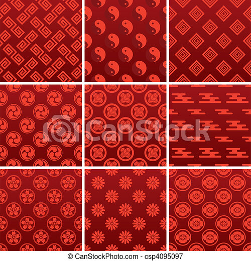 Japanese traditional red pattern - csp4095097
