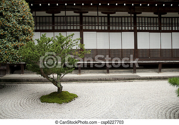 Japanese Traditional Stone Garden In Kyoto Japan Stock Photo