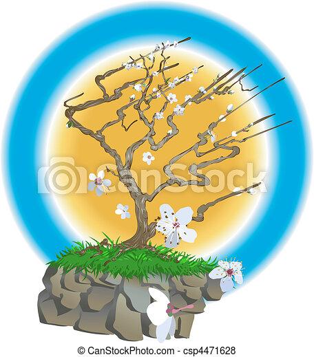 japanese tree illustration - csp4471628