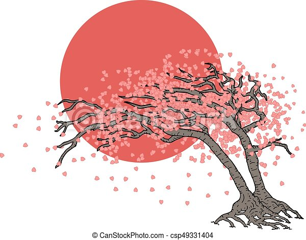 Creative Design Of Japanese Tree Illustration