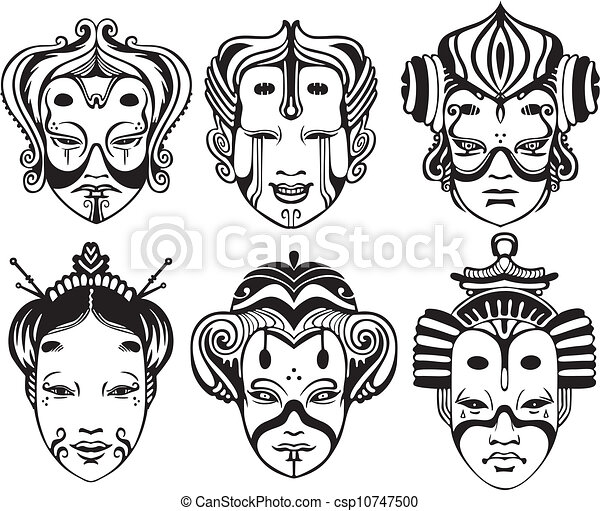 6eac4a7f8b088 Japanese tsure noh theatrical masks. set of black and white vector  illustrations.