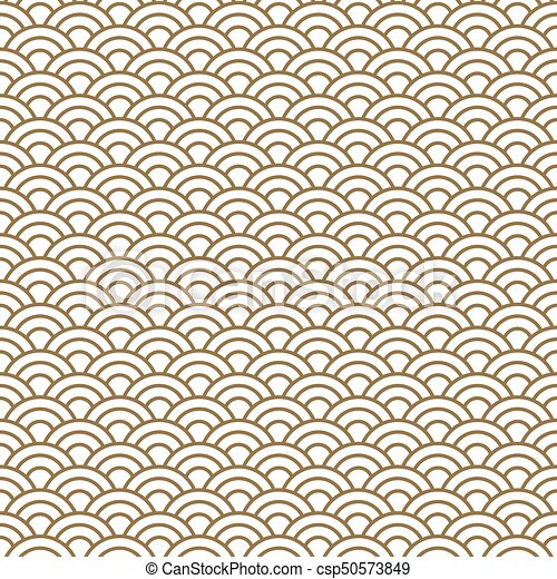 japanese wave traditional vector seamless pattern in gold line color rh canstockphoto com Wave Pattern Clip Art Japanese Food Clip Art