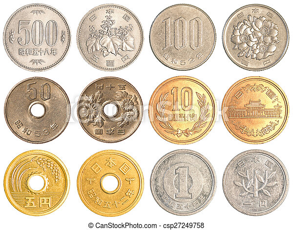 japanese yen coins collection set isolated on white background
