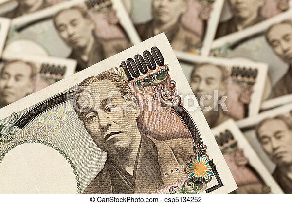 Japanese yen notes. Money from Japan - csp5134252