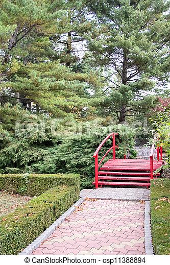 Japanese Zen Garden With Red Bridge