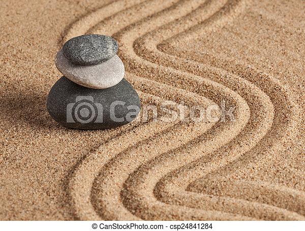 Japanese Zen stone garden - csp24841284