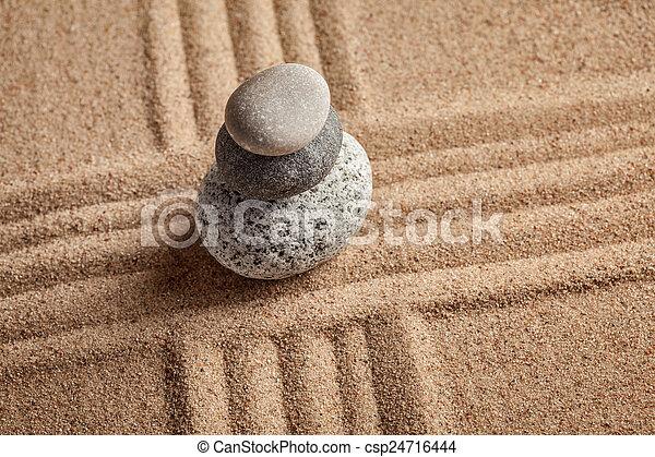 Japanese Zen stone garden - csp24716444