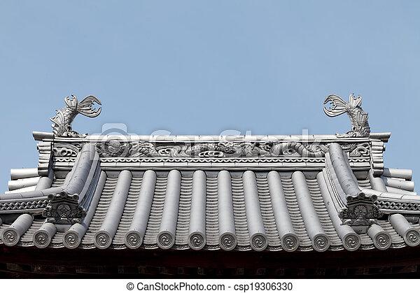 Japanisches Dach japanisches dach tempel blauer himmel japanisches