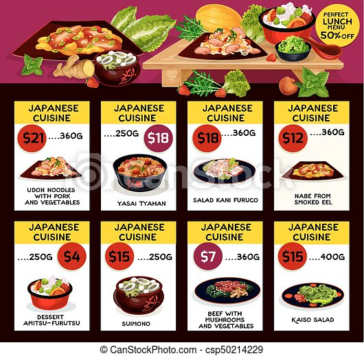 Japońska Kuchnia Wektor Menu Restauracja