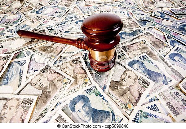 japon, factures, yen, marteau, enchère - csp5099840
