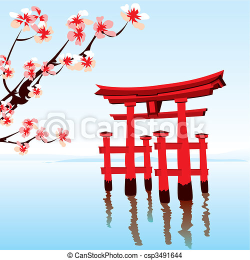 japonaise, paysage - csp3491644