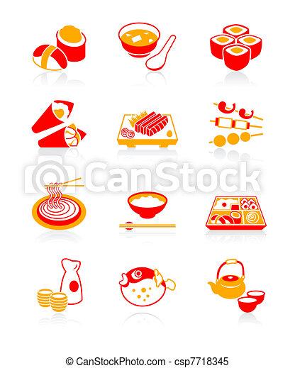 japonaise, sushi-bar, icônes, juteux, | - csp7718345