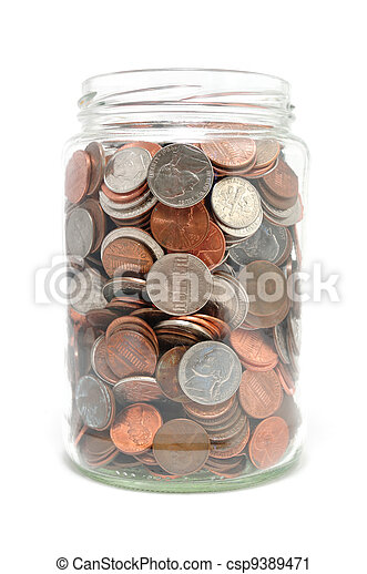 Jar Full of Coins - csp9389471